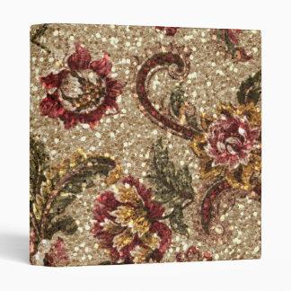 Gittery Earthtone Floral Tapestry Binder