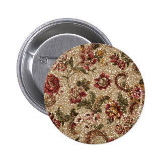 Gittery Earthtone Floral Tapestry 2 Inch Round Button