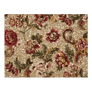 Gittery Earthtone Floral Tapestry Postcard