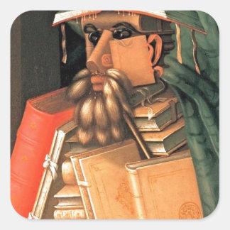 Giuseppe Arcimboldo -- el bibliotecario Calcomanías Cuadradas Personalizadas