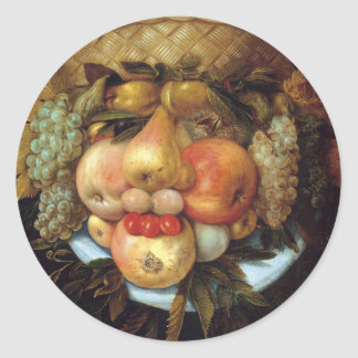 Giuseppe Arcimboldo's Reversible Head with Basket Classic Round Sticker