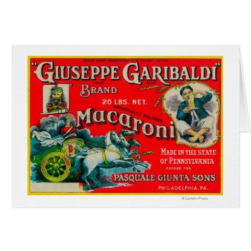 Giuseppe Garibaldi Macaroni Label Card