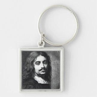 Giuseppe Ribera Silver-Colored Square Keychain