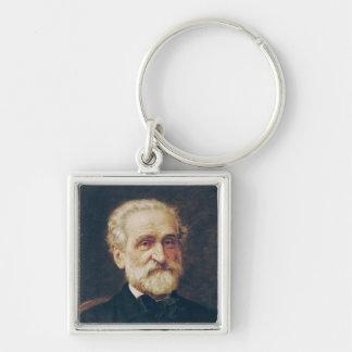 Giuseppe Verdi Llavero Cuadrado Plateado