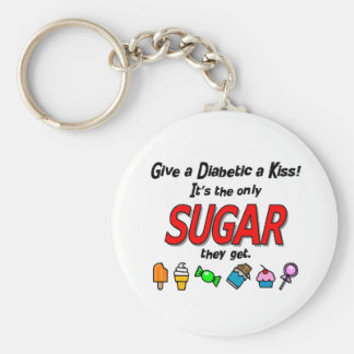 Give a Diabetic a Kiss Basic Round Button Keychain