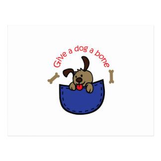 GIVE A DOG A BONE APPLIQUE POSTCARD