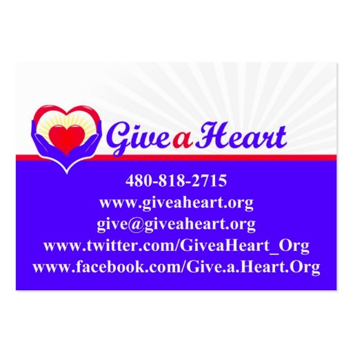 Give a Heart charity cards Large Business Cards (Pack Of 100)