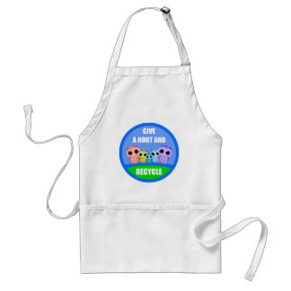 give a hoot and recycle adult apron