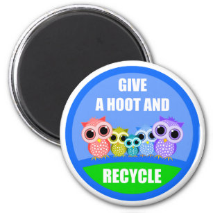 give a hoot and recycle magnet