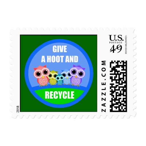 give a hoot and recycle postage stamp