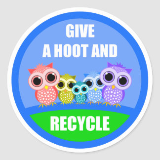 give a hoot and recycle round stickers