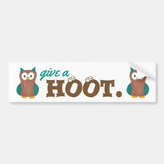 Give a HOOT Cartoon Owl Bird Owls Bumper Sticker