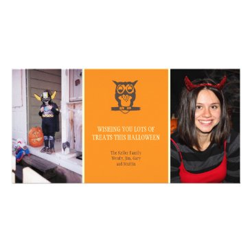 Halloween Themed Give a hoot cute owl orange Halloween two photos Card