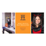 Give a hoot cute owl orange Halloween two photos Photo Card