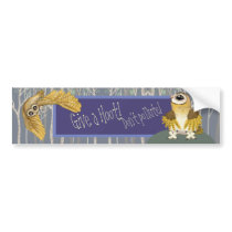 Give a Hoot~Don't Pollute, Barn Owl Bumper Sticker