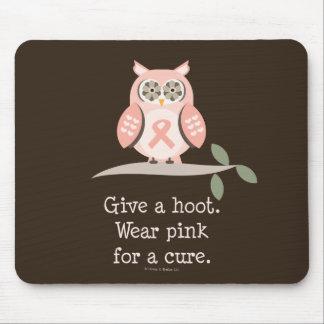 Give A Hoot Pink Ribbon Owl Mousepad