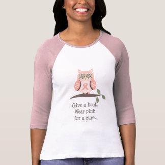 Give A Hoot Pink Ribbon Owl Raglan Tee
