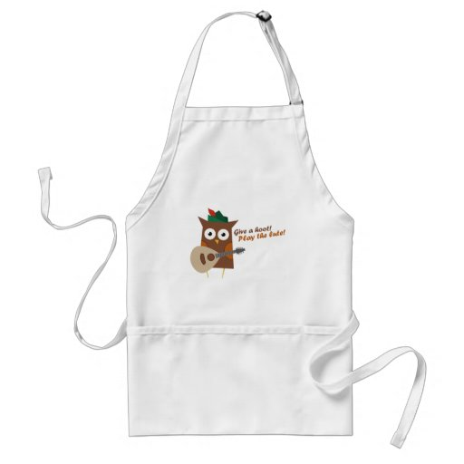 Give a hoot! Play the Lute Whimsical Owl Adult Apron
