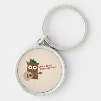 Give a hoot! Play the lute Silver-Colored Round Keychain