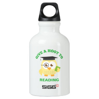 Give a Hoot to Reading with Cute Owl Aluminum Water Bottle