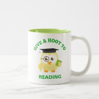 Give a Hoot to Reading with Cute Owl Two-Tone Coffee Mug