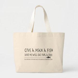 Give a Man a Fish Large Tote Bag