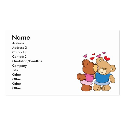 give a smooch kiss valentine teddy bears design Double-Sided standard business cards (Pack of 100)