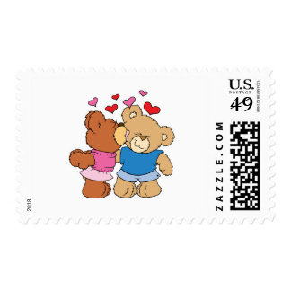 give a smooch kiss valentine teddy bears design postage