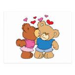 give a smooch kiss valentine teddy bears design postcard