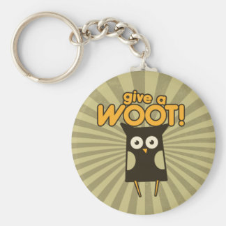 Give a Woot Hoot Owl Basic Round Button Keychain