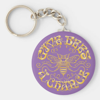 Give Bees a Chance Basic Round Button Keychain