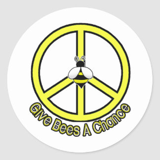 give bees a chance classic round sticker