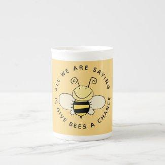 Give Bees a Chance Cute Bee Bone China Mug
