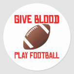 Give Blood Play Football Classic Round Sticker
