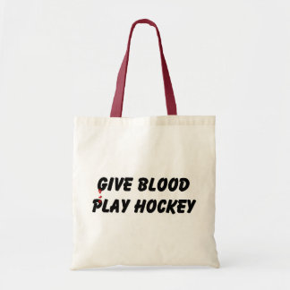 Give Blood Play Hockey Tote Bags