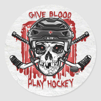 Give Blood Play Hockey Black Classic Round Sticker