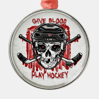 Give Blood Play Hockey Black Metal Ornament