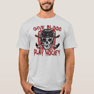 Give Blood Play Hockey Black T-Shirt