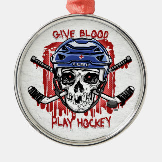 Give Blood Play Hockey Blue Metal Ornament