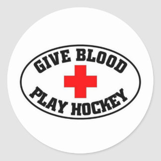 Give blood play hockey classic round sticker