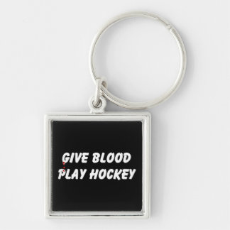 Give Blood Play Hockey Keychain