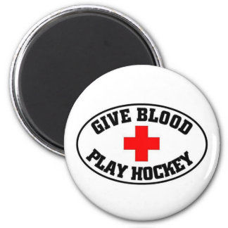 Give blood play hockey magnet