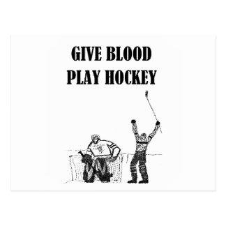 Give Blood Play Hockey Postcard