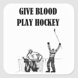 Give Blood Play Hockey Square Sticker