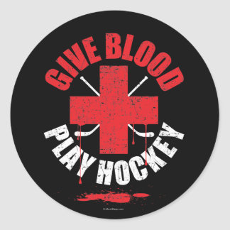 Give Blood Play Hockey v1 Classic Round Sticker