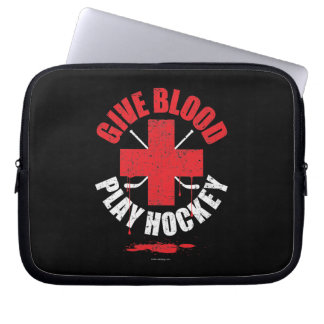Give Blood Play Hockey v1 Laptop Sleeves