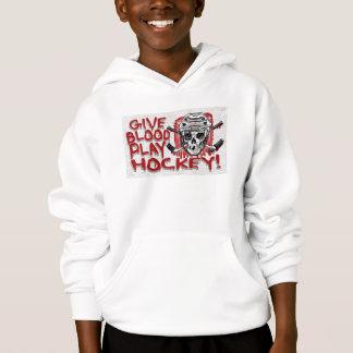 Give Blood Play Hockey White Hoodie