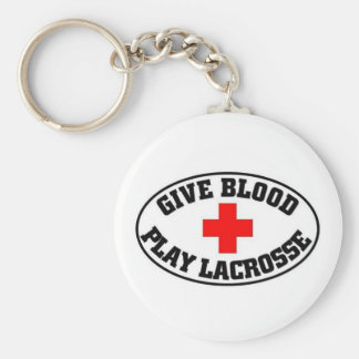 Give blood play Lacrosse Keychain