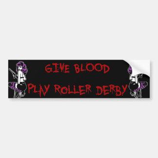 give blood play roller derby bumper sticker