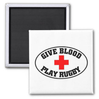 Give blood play Rugby 2 Inch Square Magnet